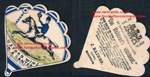 1880s Baines of Manningham fan card Oxford FC Scotland wins in a canter